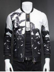 Chic Eagle Print Ribbed Collar Long Sleeve Jacket For Men -