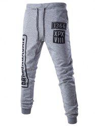 Lace-Up Letters Pattern Beam Feet Jogger Pants - LIGHT GRAY 2XL