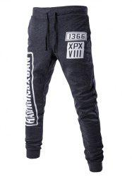 Lace-Up Letters Pattern Beam Feet Jogger Pants