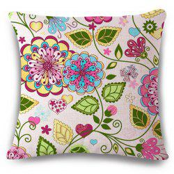 Fresh Style Home Decor Flower Design Flax Pillow Case -