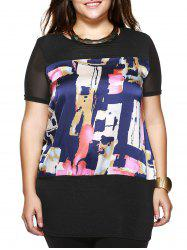 Plus Size Brief Colorful Printed Long Blouse -