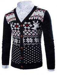 V-Neck Deer Ethnic Style Geometric Pattern Long Sleeve Cardigan For Men - BLACK