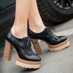 Retro Tie Up and Fringe Design Pumps For Women - BLACK