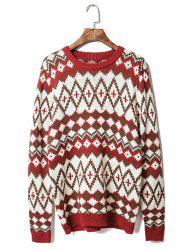 Round Neck Geometric Pattern Long Sleeve Sweater For Men