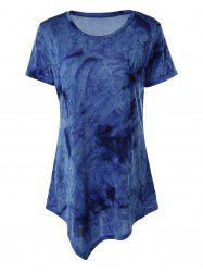 Asymmetrical Long Tie Dye T-Shirt - BLUE