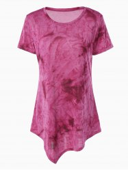 Asymmetrical Long Tie Dye T-Shirt - ROSE MADDER