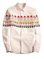 National Wind Geometric Print Long Sleeve Shirt For Men -