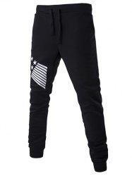 Lace-Up Stripes and Star Pattern Jogger Pants