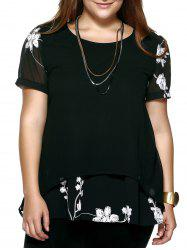Crochet Floral Plus Size Blouse - BLACK