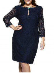 Plus Size 3/4 Sleeve Solid Color Knee-Length Lace Dress -