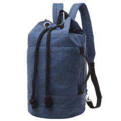 Simple Canvas and Drawstring Design Backpack For Men - DEEP BLUE