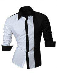 Color Block Splicing Design Turn-Down Collar Long Sleeve Shirt For Men -