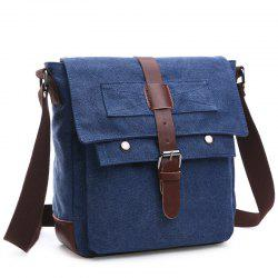 Concise Color Block and Buckle Design Messenger Bag For Men - DEEP BLUE