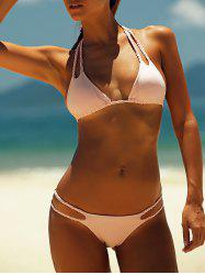 Solid Color Hollow Out Lace-Up Halter Bikini Set