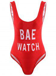 Letter Print Hollow Back One-Piece Swimwear - RED