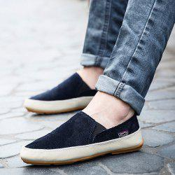 Simple Elastic Band and Color Block Design Canvas Shoes For Men -