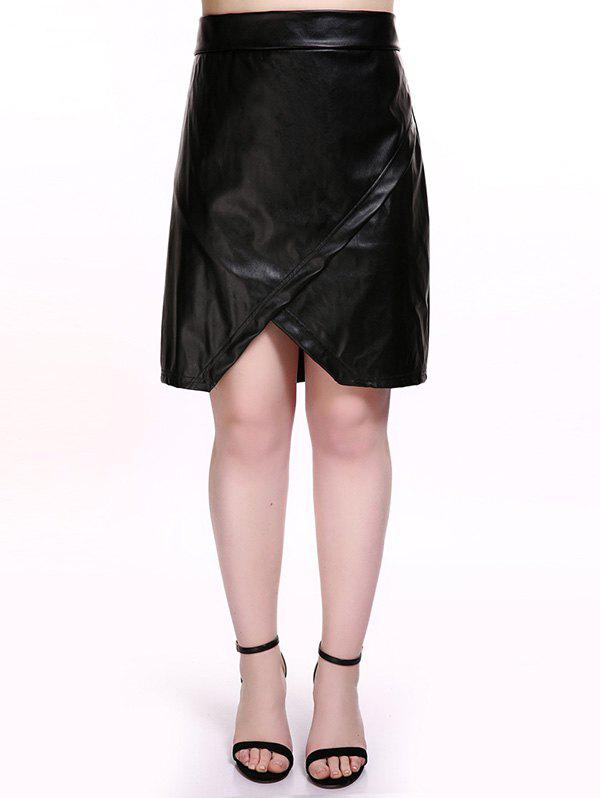 Affordable Plus Size Overlap PU Leather Skirt