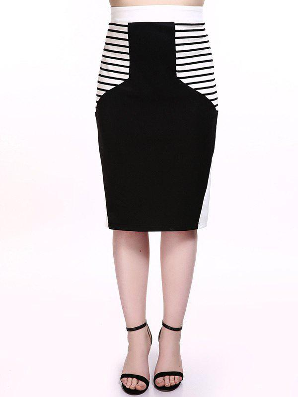Chic Plus Size Striped Trim Pencil Skirt