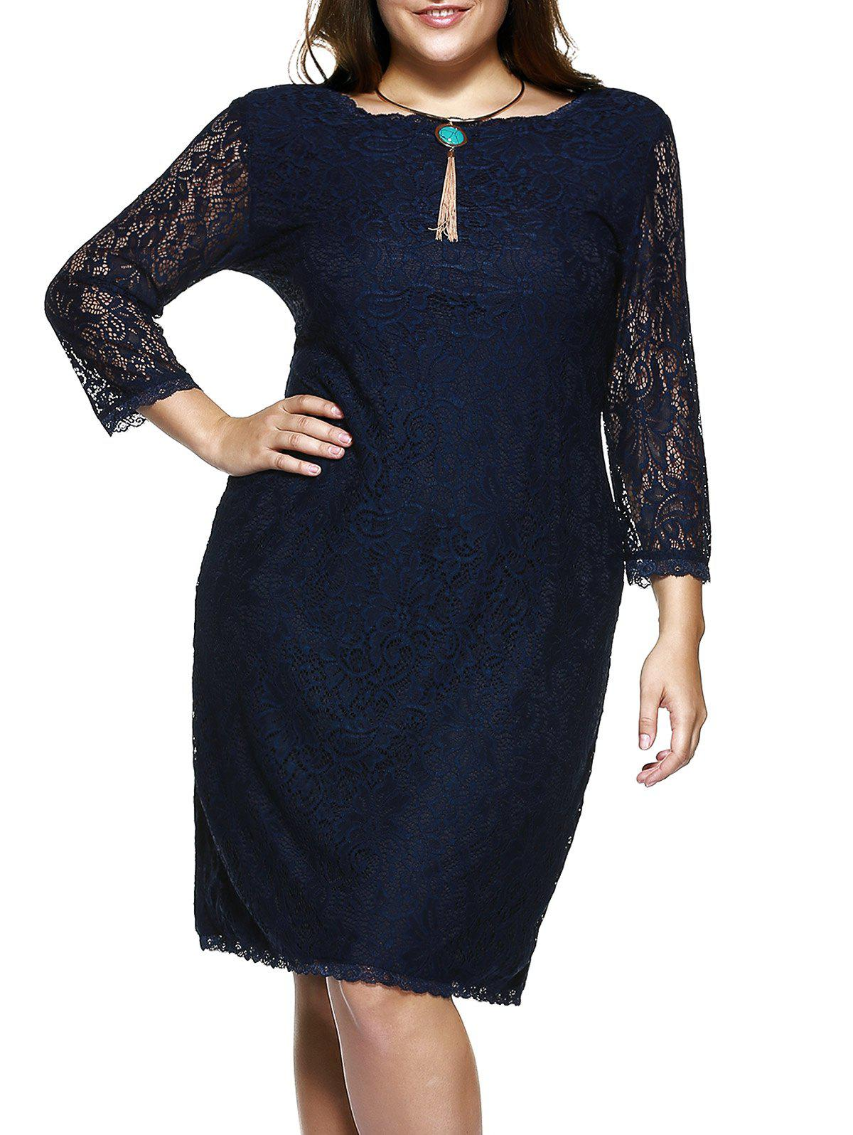 Store Plus Size 3/4 Sleeve Solid Color Knee-Length Lace Dress