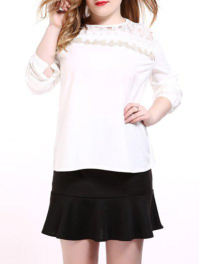 Hot Oversized Sweet Long Sleeve Lace Splicing Blouse