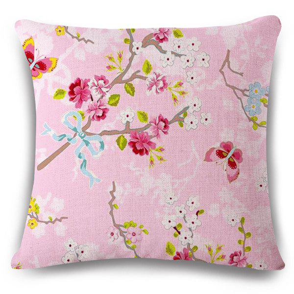 Pink Underpainting Blossom Butterfly Insect Pattern Pillow Case 189625601