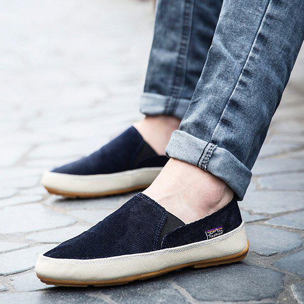 Online Simple Elastic Band and Color Block Design Canvas Shoes For Men