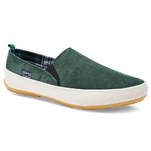 Sale Simple Elastic Band and Color Block Design Canvas Shoes For Men