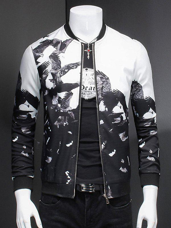 Outfits Chic Eagle Print Ribbed Collar Long Sleeve Jacket For Men