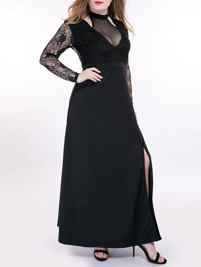 Store Oversized Alluring See-Through Lace Splicing Dress
