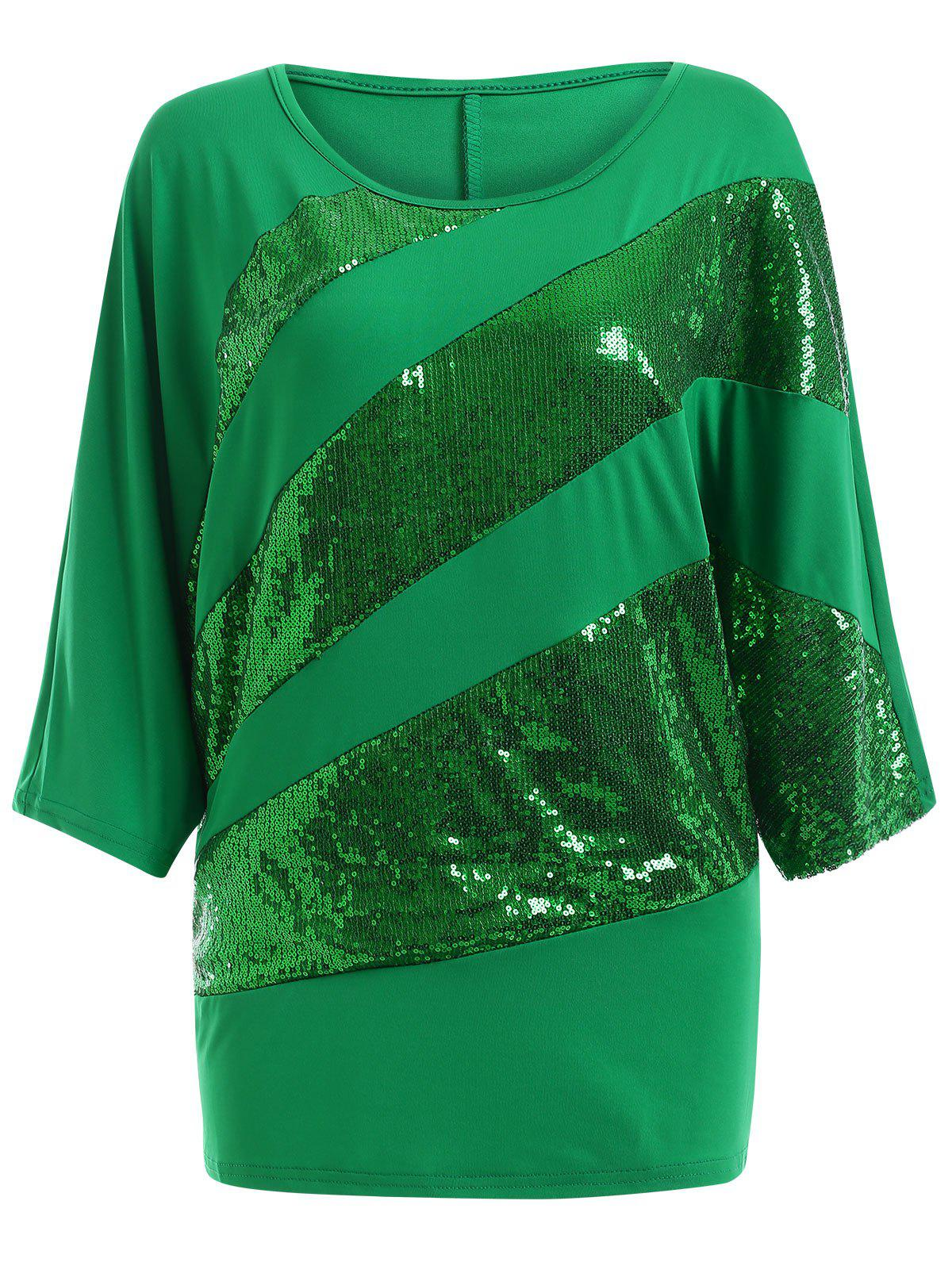 Sequin Embellished Loose TopWOMEN<br><br>Size: M; Color: GREEN; Material: Cotton Blends; Shirt Length: Long; Sleeve Length: Three Quarter; Collar: Scoop Neck; Style: Casual; Season: Summer; Embellishment: Sequined; Pattern Type: Solid; Weight: 0.2980kg; Package Contents: 1 x Top;