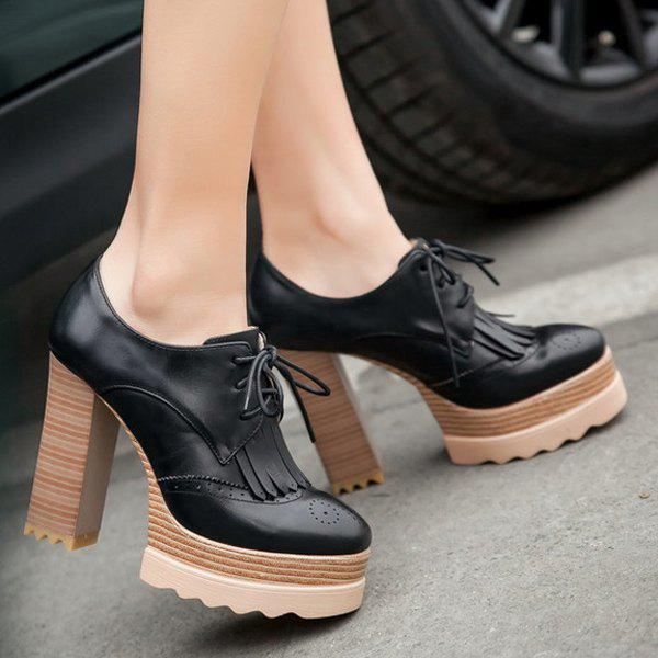 a39c6cab2aba Latest Retro Tie Up and Fringe Design Pumps For Women
