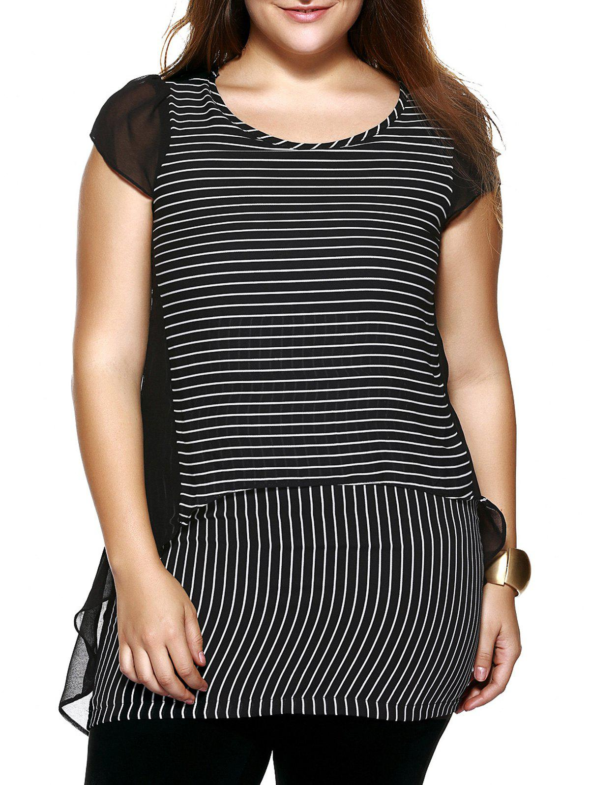 Hot Oversized Chic Striped Chiffon Spliced Blouse