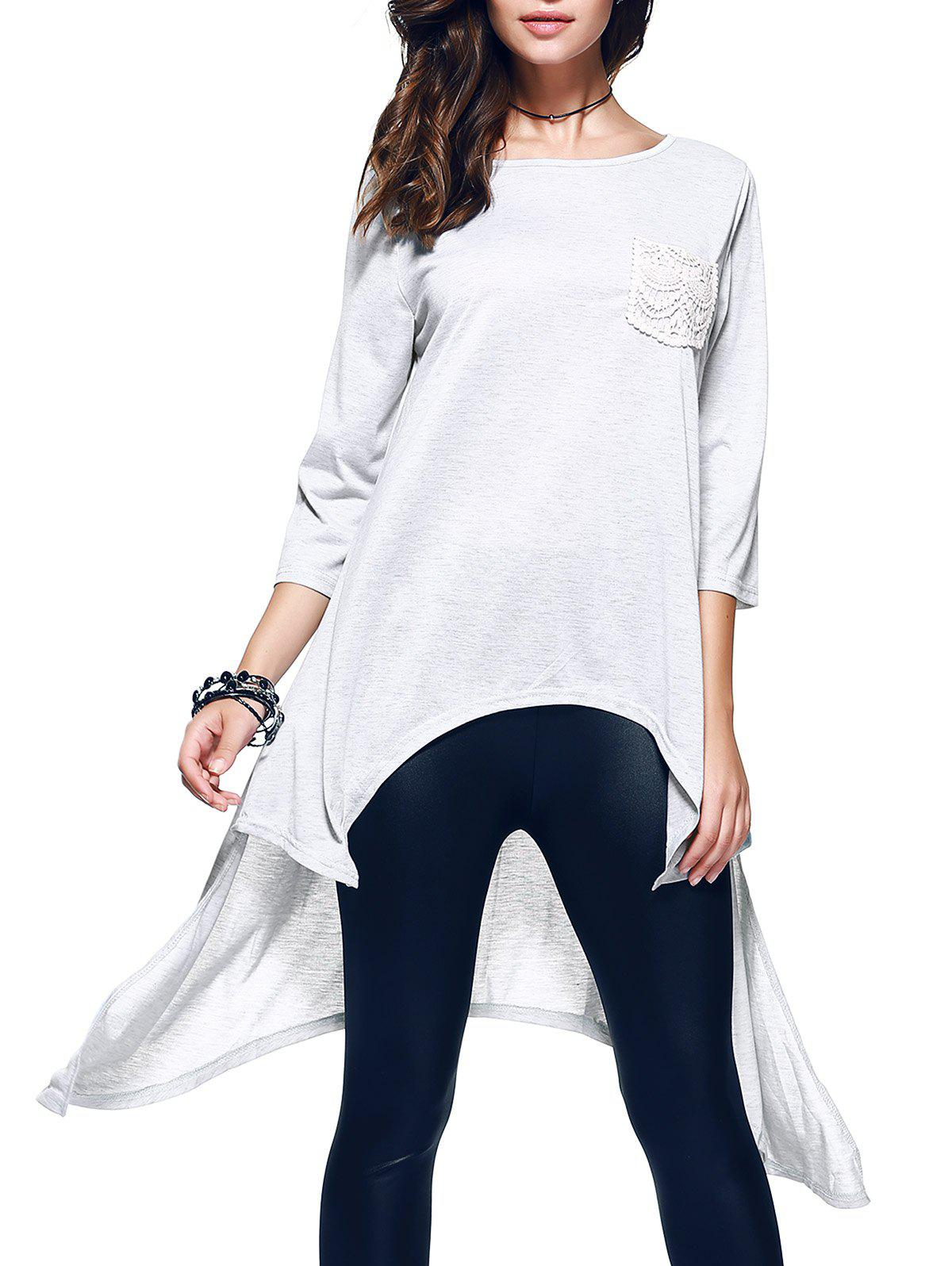 Store Chic 3/4 Sleeve Asymmetrical Patch Design Women's T-Shirt