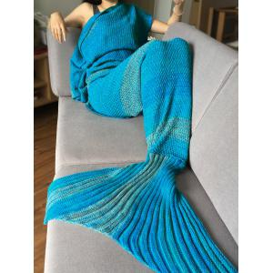 Crochet Stripe Pattern Mermaid Tail Shape Blanket - Blue