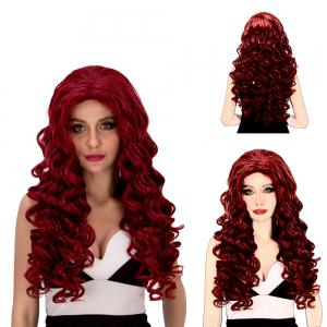 Vogue Long Loose Curly Wine Red Synthetic Capless Cosplay Wig For Women - Wine Red - 14inch