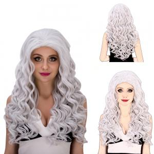 Vogue Long Loose Curly Silver White Synthetic Capless Cosplay Wig For Women - Silver White - Xs