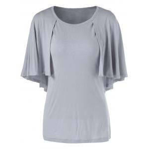 Fashionable 3/4 Sleeve Short Sleeve Solid Color Loose-Fitting T-Shirt