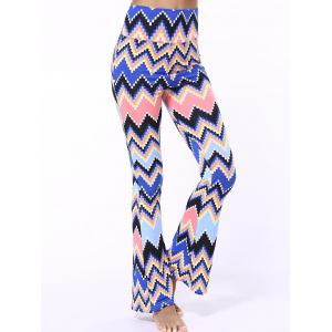 High Waist Zigzag Bell Bottom Printed Pants - Blue - L