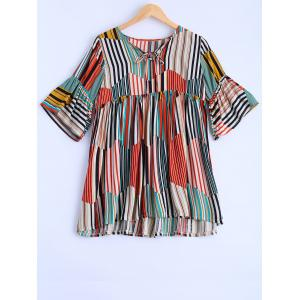 Plus Size Sweet Colorful Striped Blouse - Colormix - 4xl