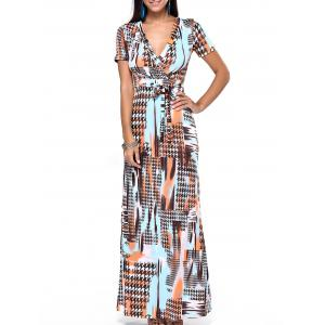 Plunging Neck Print Wrap Evening Dress - Sweet Orange - S