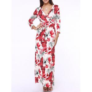 Plunge Maxi Floral Long Wrap Evening Dress - Red - S