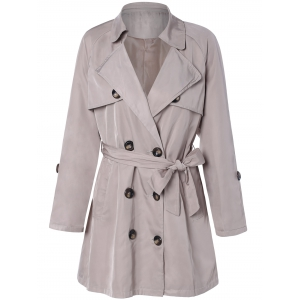 Plus Size Tie Belt Double Breasted Long Trench Coat - Light Khaki - 2xl