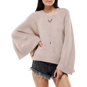 Round Neck Bat Sleeve Loose-Fitting Sweater for Women