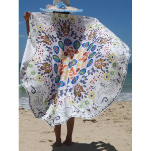 Floral Print Circle Beach Cover Up - Colormix - One Size