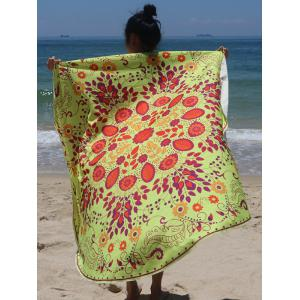 Circle Plant Print Beach Cover Up