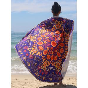 Sun-Resistant Floral Print Chiffon Beach Cape - Purple - One Size