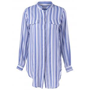 Contracted Stripe Long Sleeve Shirt For Women