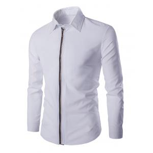 Chic Zipper Openning Turn-Down Collar Long Sleeve Shirt For Men