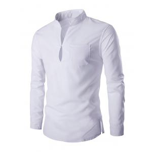 Mandarin Collar Long Sleeve Slim Fit Shirt