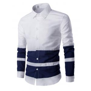 Turn Down Collar Color Splicing Long Sleeve Shirt For Men